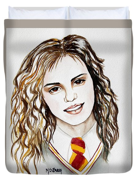 Duvet Cover featuring the painting Hermoine Granger by Maria Barry