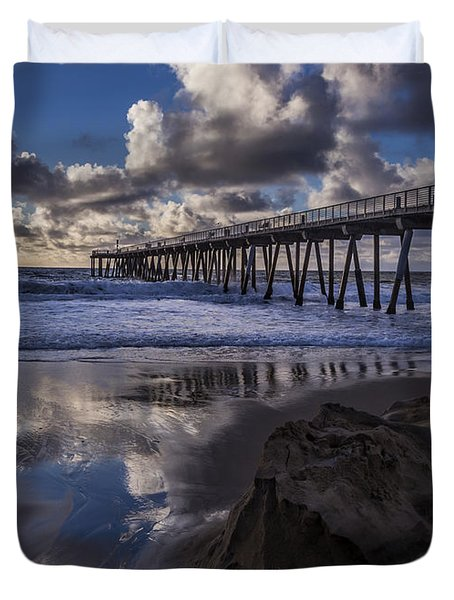 Hermosa Beach Pier Duvet Cover