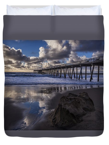 Hermosa Beach Pier Duvet Cover