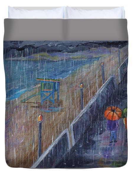 Duvet Cover featuring the painting Hermosa Beach Rain by Jamie Frier