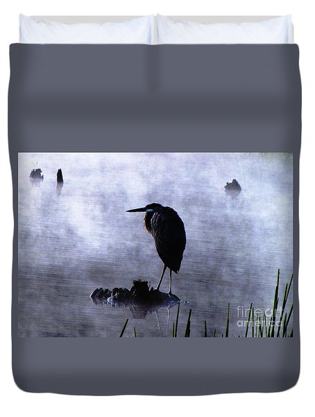 Duvet Cover featuring the photograph Heron 4 by Melissa Stoudt