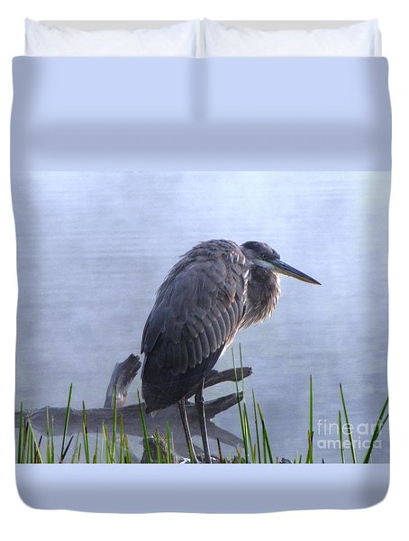 Duvet Cover featuring the photograph Heron 5 by Melissa Stoudt