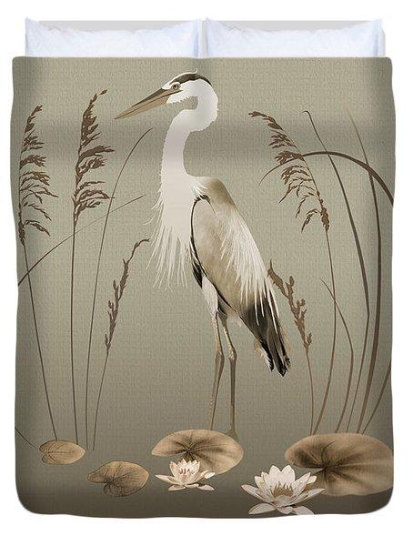 Heron And Lotus Flowers Duvet Cover