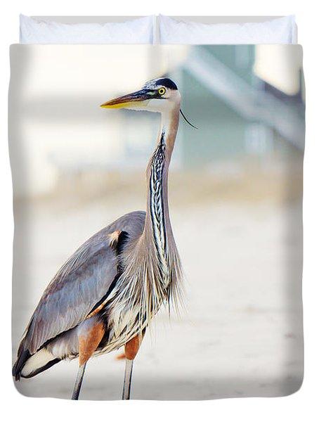 Heron And The Beach House Duvet Cover