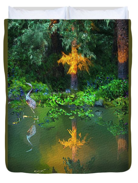 Duvet Cover featuring the digital art Heron Art by Dale Stillman