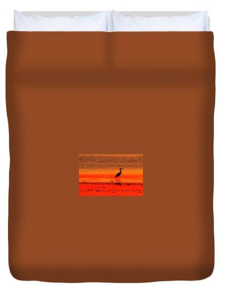 Heron At Dawn Duvet Cover