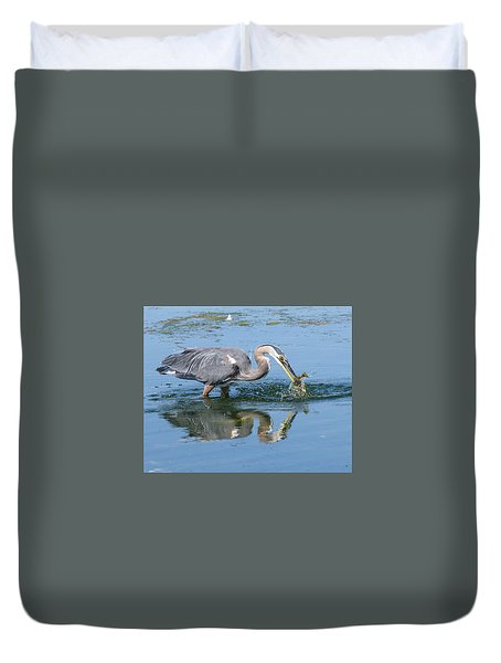 Great Blue Heron Catches A Fish Duvet Cover