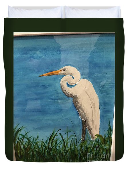 Duvet Cover featuring the painting Heron by Donald Paczynski