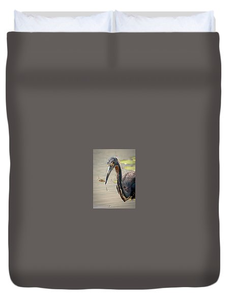 Duvet Cover featuring the photograph Heron Fishing by Allen Biedrzycki