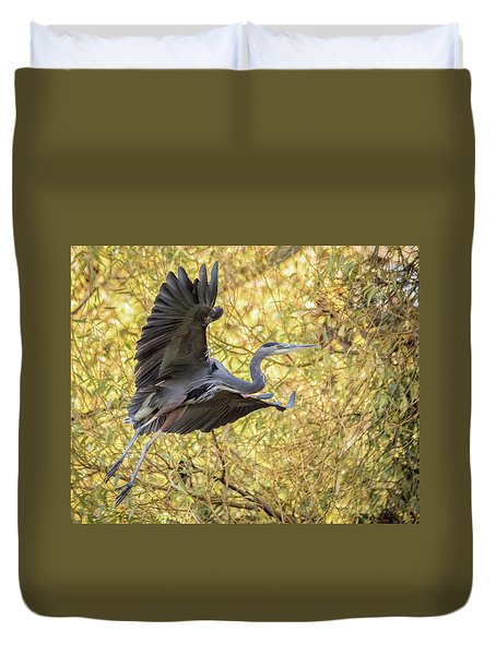 Heron In Flight Duvet Cover
