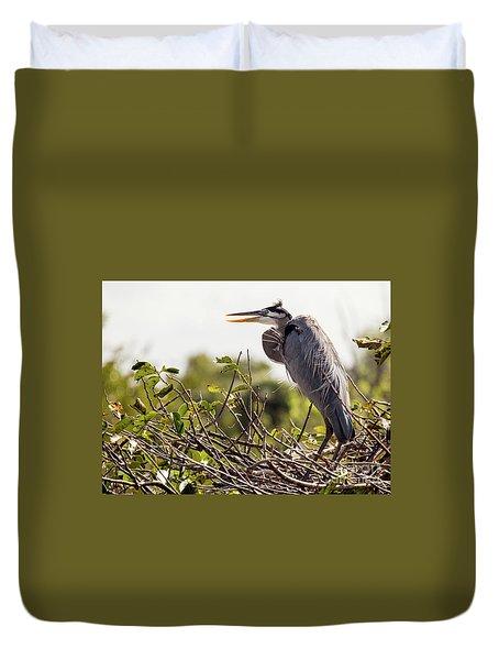 Heron In Nest Duvet Cover by Jim Gillen