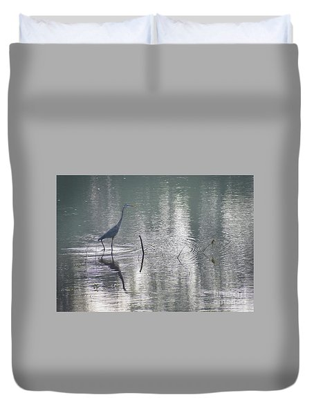 Duvet Cover featuring the photograph Heron In Pastel Waters by Skip Willits