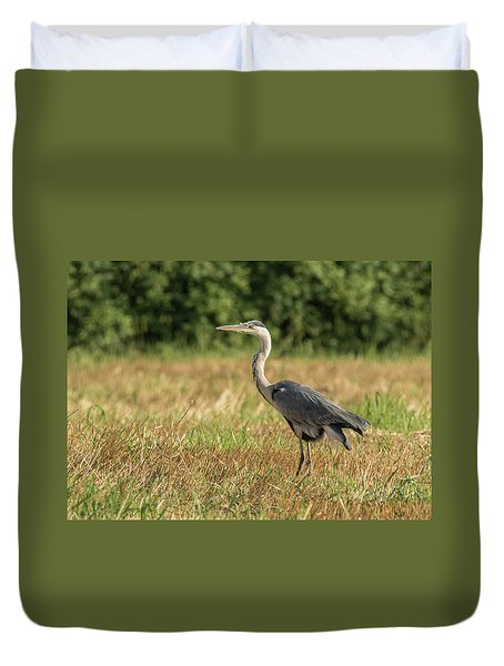 Heron In The Field Duvet Cover