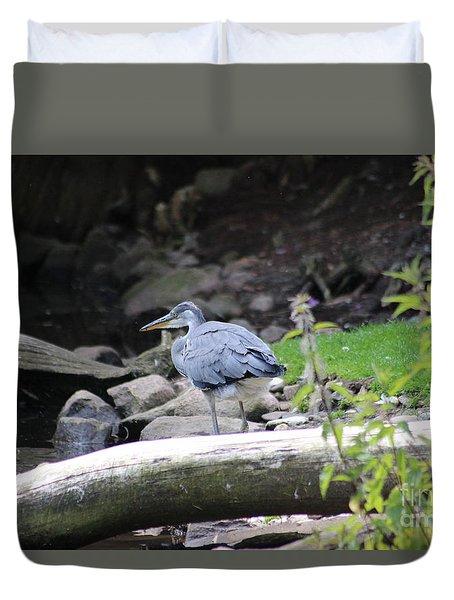 Heron In The Fields Duvet Cover