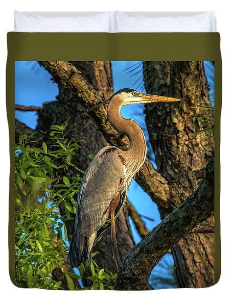 Heron In The Pine Tree Duvet Cover