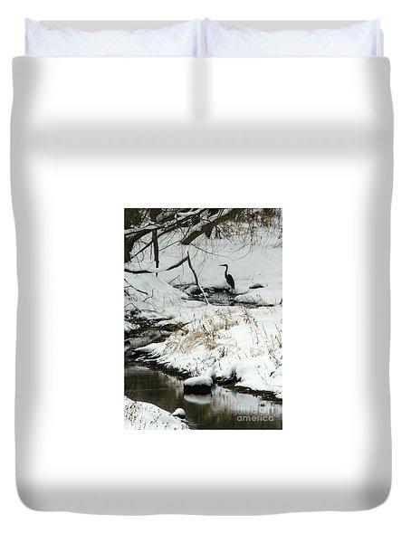 Heron In Winter Duvet Cover