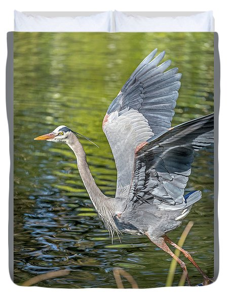 Duvet Cover featuring the photograph Heron Liftoff by Kate Brown