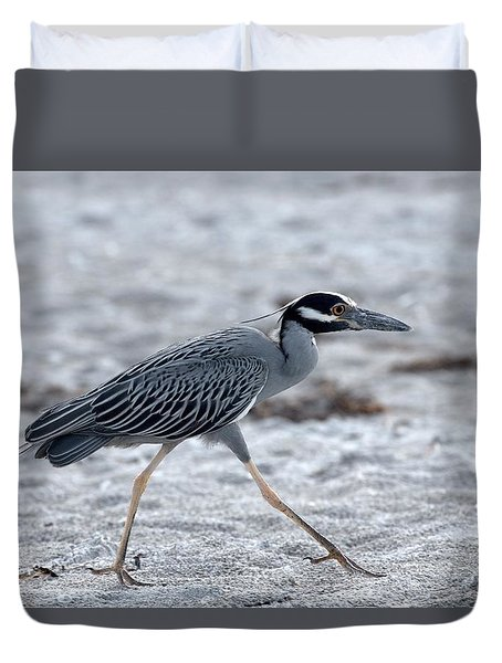 Yellow-crowned Night Heron On A Mission Duvet Cover