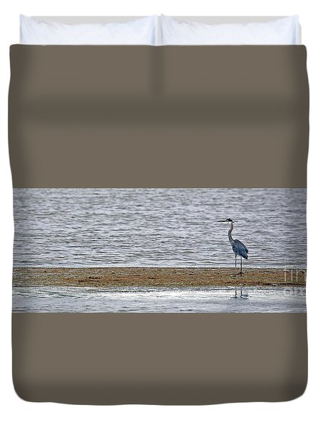 Heron On Quivira Sandbar Duvet Cover