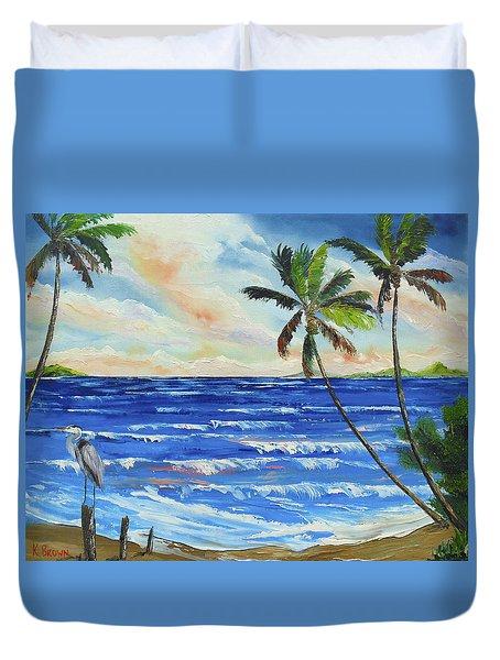 Heron On The Beach Duvet Cover