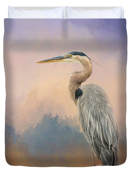 Heron On The Rocks Duvet Cover