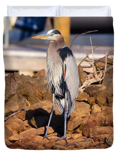 Heron On The Rocks Duvet Cover