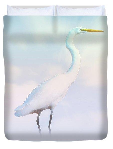 Heron Or Egret Stance Duvet Cover by Joseph Hollingsworth