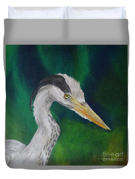 Heron Painting Duvet Cover by Isabel Proffit