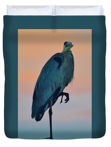 Heron Posing 1 Duvet Cover by William Bartholomew