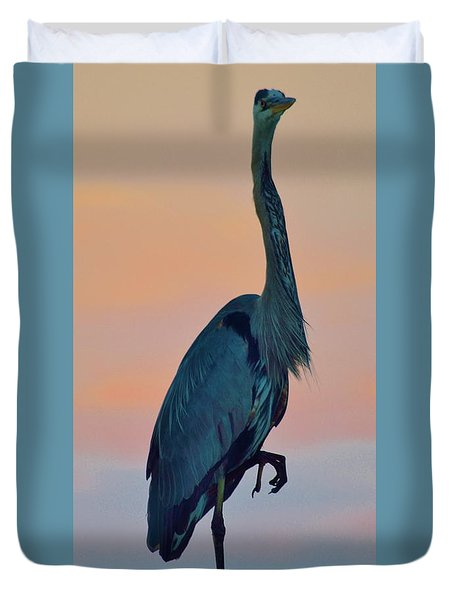 Heron Posing 2 Duvet Cover by William Bartholomew