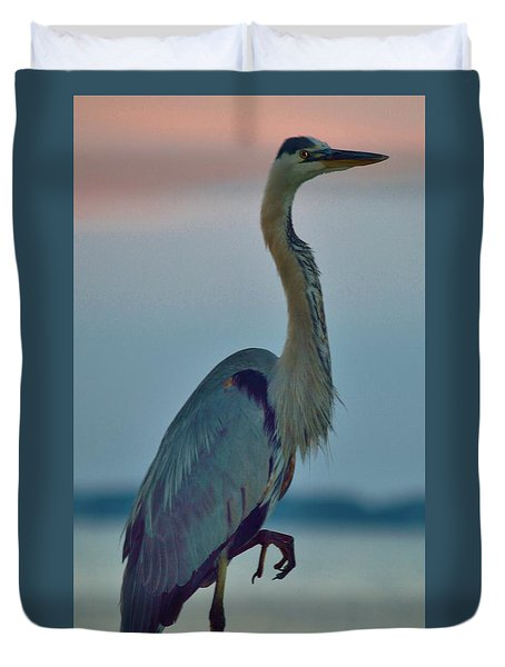 Heron Posing 3 Duvet Cover by William Bartholomew