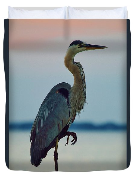 Heron Posing 4 Duvet Cover by William Bartholomew