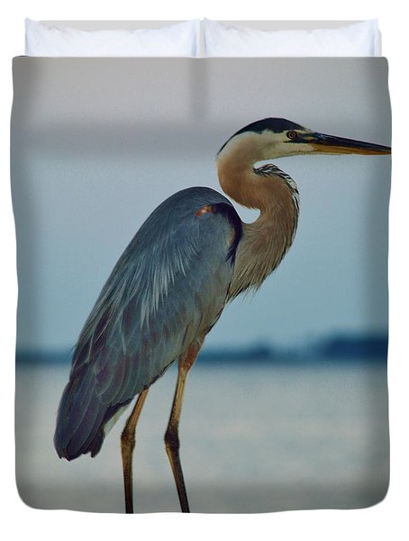 Heron Posing 5 Duvet Cover by William Bartholomew