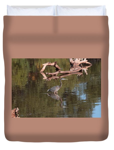 Heron Reflection Duvet Cover
