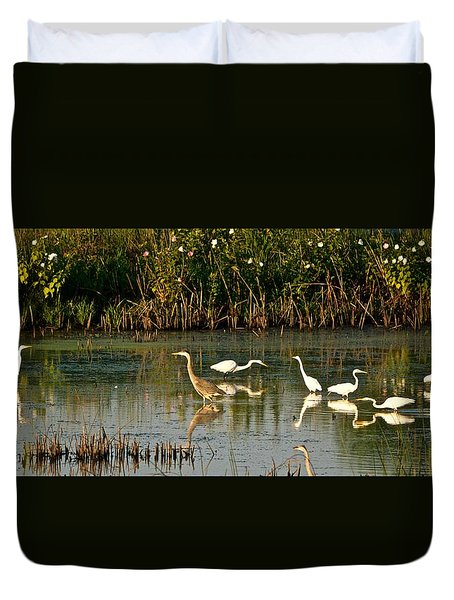Heron Sunrise Duvet Cover