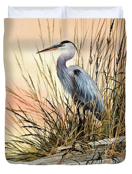 Heron Sunset Duvet Cover