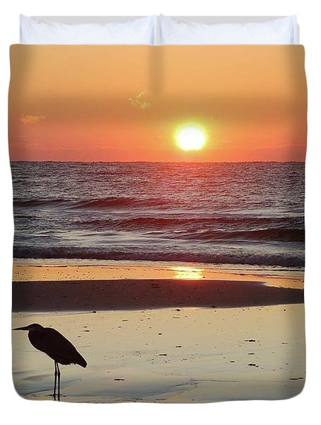 Heron Watching Sunrise Duvet Cover