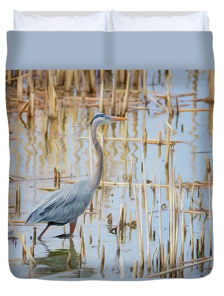 Duvet Cover featuring the photograph Heron - Wetlands  by Nikolyn McDonald