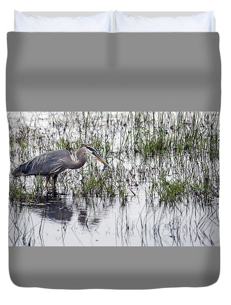Heron With Fish Duvet Cover