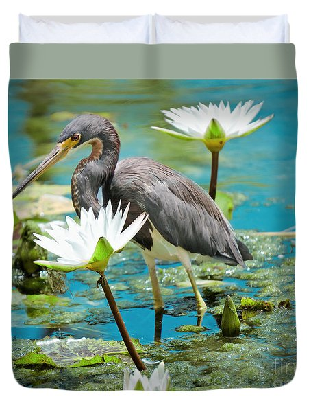 Heron With Water Lillies Duvet Cover