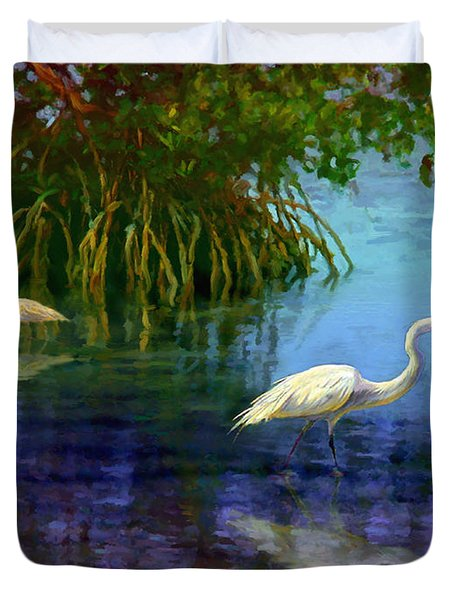 Herons In Mangroves Duvet Cover