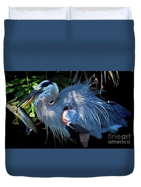 Heron's Lunch Duvet Cover