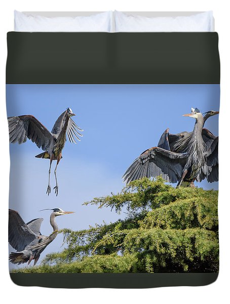 Herons Mating Dance Duvet Cover by Keith Boone