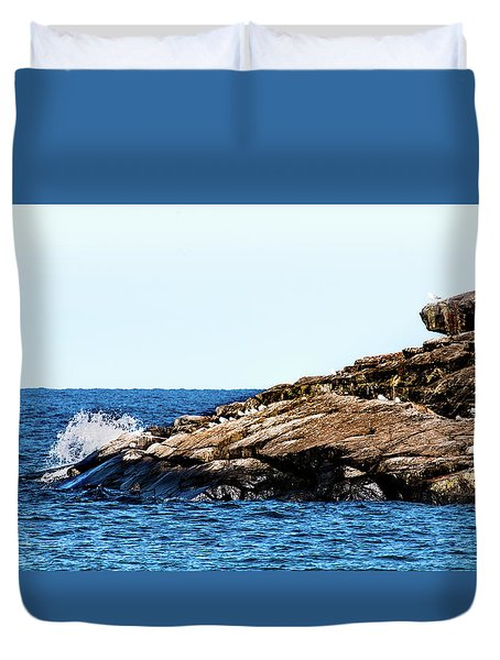Duvet Cover featuring the photograph Herring Gull Picnic by Onyonet  Photo Studios