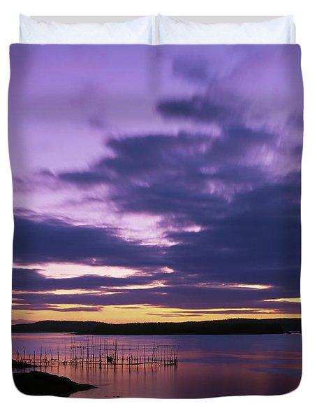 Herring Weir, Sunset Duvet Cover