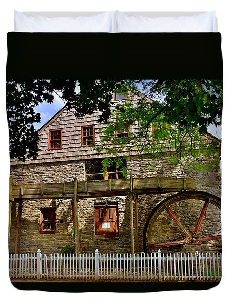 Duvet Cover featuring the photograph Herr's Grist Mill by Lisa Wooten
