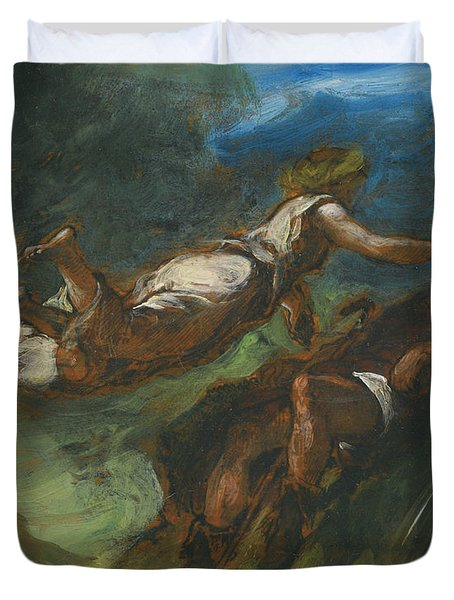Hesiod And The Muse Duvet Cover
