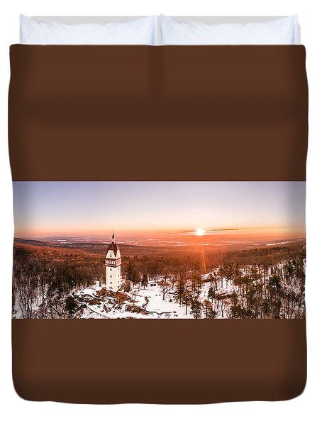 Heublein Tower In Simsbury Connecticut, Winter Sunrise Panorama Duvet Cover
