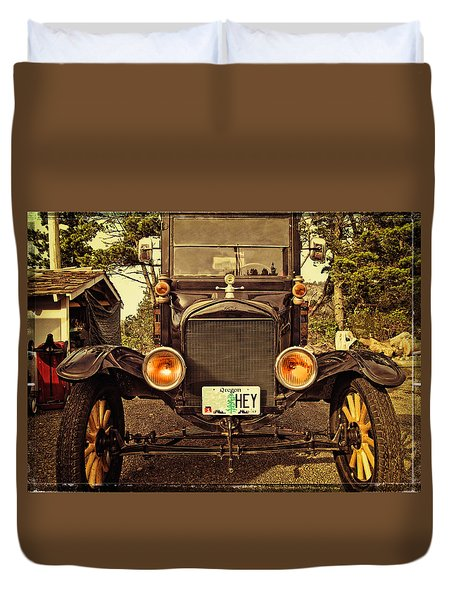 Hey A Model T Ford Truck Duvet Cover by Thom Zehrfeld