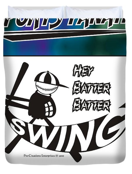 Hey Batter Batter Swing Duvet Cover by Maria Watt